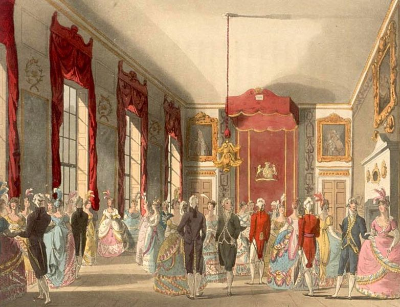Drawing Room at St James's- Microcosm-Rowlandson-w