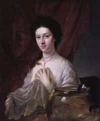 Nathaniel Hone portrait of Kitty Fisher, her cat, and the goldfish bowl