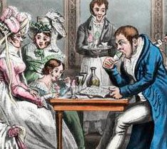 John bull and his family at an ice cafe detail