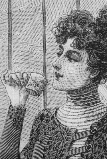 Polite lady drinking tea cropped