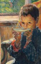Bogdanov a young boy drinking tea c 1900 crop