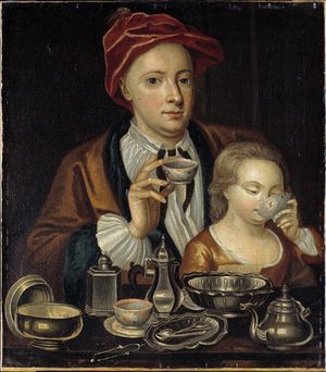 Man and child drinking tea c1720