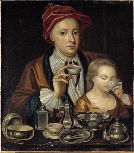 Man and child drinking tea c1720