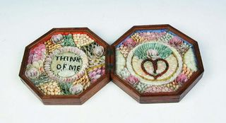Mahogany carved and framed sailors valentine attrib carters antiques