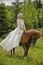 Blond girl horse