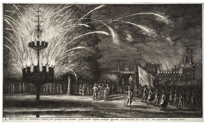 Wenceslas_Hollar_-_Fireworks_in_Hemissem before 1670