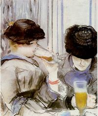 Women drinking beer manet