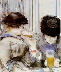 Women drinking beer manet