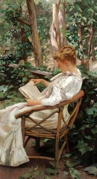 Irving Ramsay Wiles (American artist, 1861–1948) Reading in the Garden