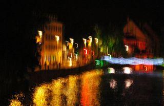 Christmas lights at night