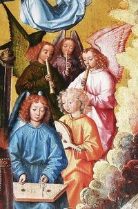 Mj Master of the St Lucy. Musician Angels detail c 1480