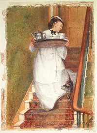 Maidservant carrying breakfast tray albert goodwin 1893