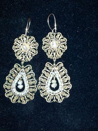 Georgian Era Gold and Seed Pearl Earrings