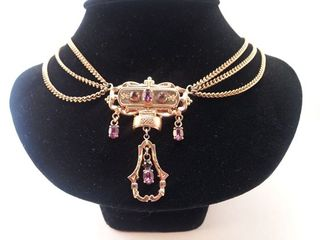 Victorian revival festoon necklace with amethysts