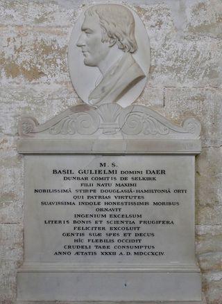 I1704e 'Basil Gulielmi, d1794' accented plaque, E-cathedral