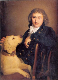 Count Giacomo Rota with his dog by Gaspare Landi