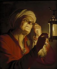 Gerrit van Honthorst Old woman examining a coin1620