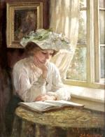 Lady reading by a window, Thomas Benjamin Kennington