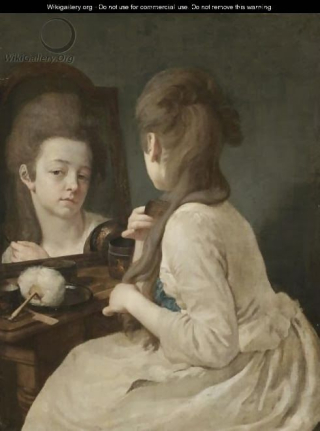 Young Lady At Her Toilet  Combing Her Hair de Peters