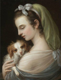 A Woman With a King Charles Spaniel  German School  18th century