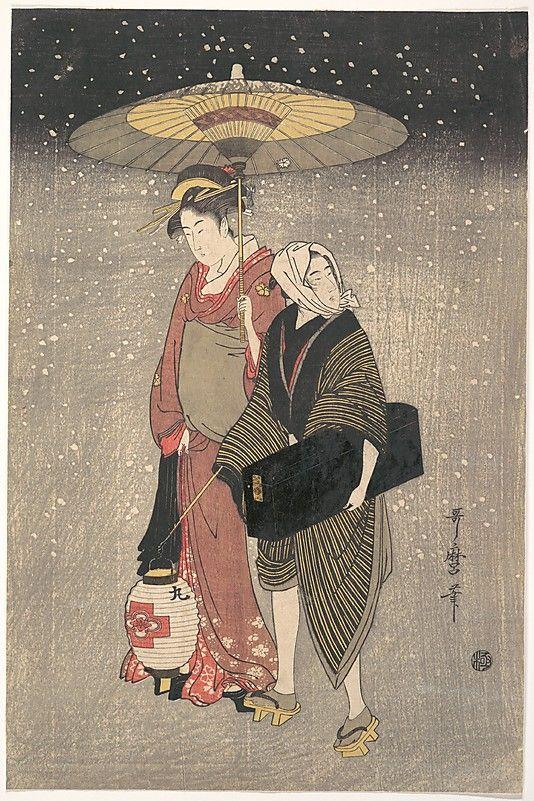 Kitagawa Utamaro (Japanese  1753?–1806). Geisha Walking through the Snow