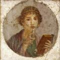 Lady with stylus coptic