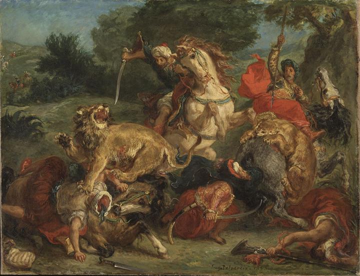 1920px-Delacroix_lion_hunt_1855