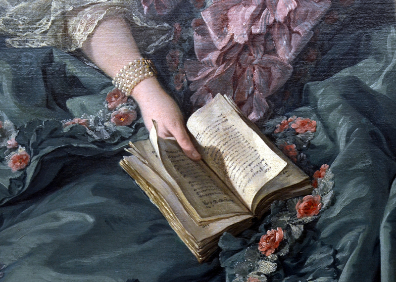 A painting of an open book held on a woman's lap.