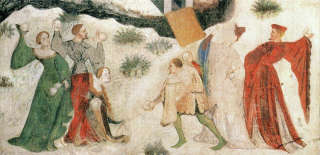 Snowball fight medieval mural italy