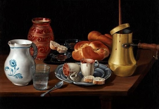 Wench José López Enguidanos 1760-1812 - %22Still life with honeypot  jug  chocolate pot and two small cups%22 1807