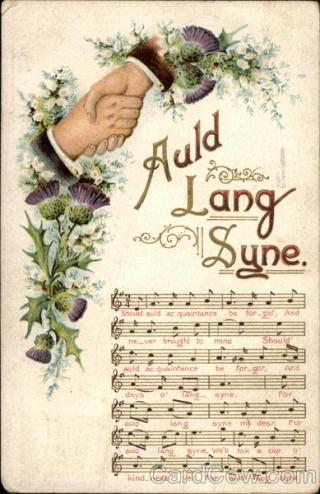 Auld lang syne vintage postcard