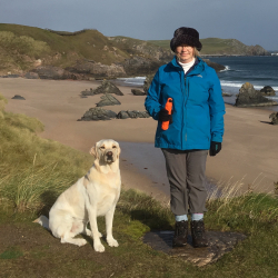 Wench nicola at beach with dog