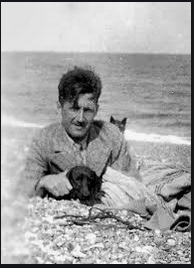 George Orwell (1903-1950)  on the beach with his dog 'Marx ...