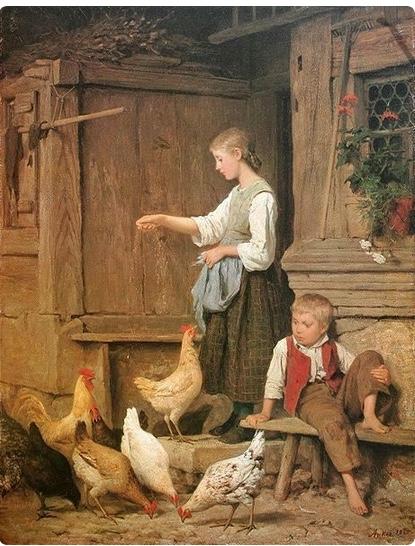 Wench girl feeding chickens albert anker 1831 1910
