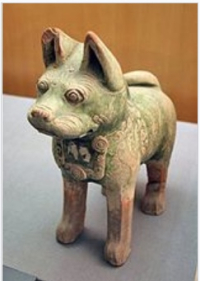Ddd han china pottery dog decorative collar 200 bce to 200 ad