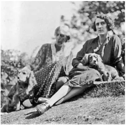 Virginia Woolf and Pinka  with her fellow author and dear friend Vita Sackville-West and her dog Pippen.