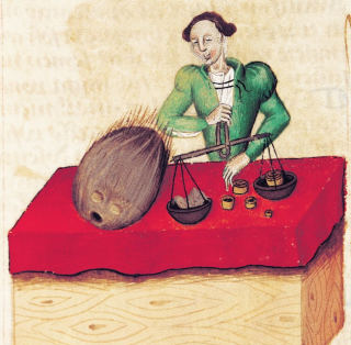 15th-century edition of Dioscorides's Tractatus De Herbis; the merchant's scales allude to the coconut's value in Europe.