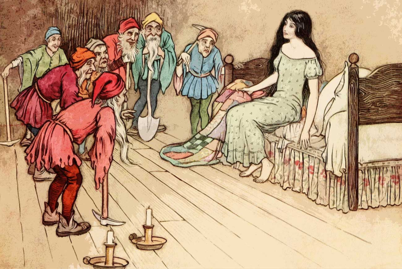 Fairy-tales-Snow-White-and-the-Seven-Dwarfs-vintage-illustration