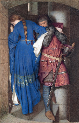 450px-Hellelil_and_Hildebrand _the_meeting_on_the_turret_stairs _by_Frederic_William_Burton