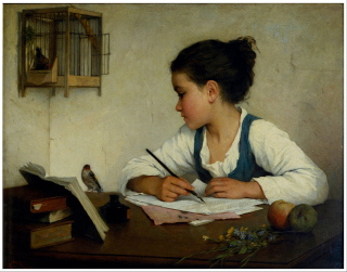 1527px-Browne _Henriette_-_A_Girl_Writing;_The_Pet_Goldfinch_-_Google_Art_Project